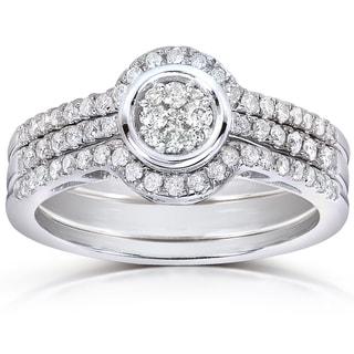 Annello 10k White Gold 1/2ct TDW Round-cut Diamond 3-piece Bridal Ring Set (H-I, I1-I2)