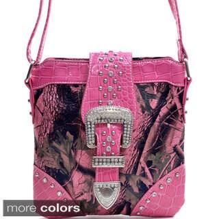 Camo Patent Rhinestone-buckled Messenger Bag
