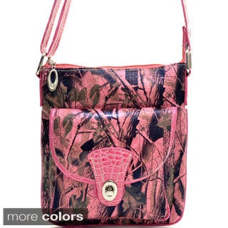 Camo Patent Twist-lock Messenger Bag