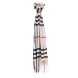 Burberry Ivory Heritage Check Cashmere Scarf