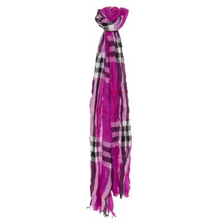 Burberry Purple Check Wool Cashmere Crinkle Scarf