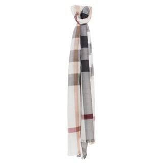Burberry Ivory/ Black Check Silk Cashmere Scarf