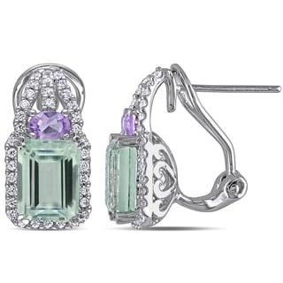 Miadora Sterling Silver Multi-gemstone Dangle Earrings