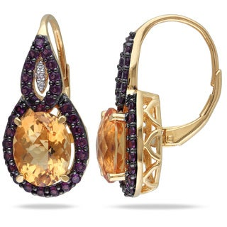 Miadora Yellow Goldplated Silver Multi-gemstone and Diamond Accent Earrings