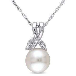 Miadora 10k White Gold White Pearl and Diamond Accent Necklace (7.5-8 mm)
