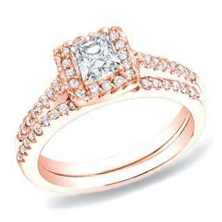 Auriya 14k Rose Gold 3/4ct TDW Princess Diamond Bridal Ring Set (H-I, SI1-SI2)