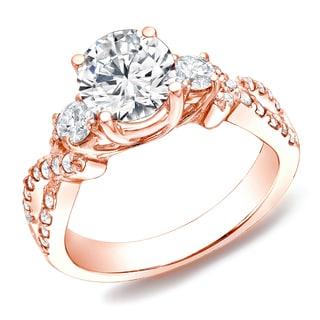 Auriya 14k Rose Gold 1 1/2 ct TDW Certified Diamond 3-stone Ring (H-I, SI1-SI2)