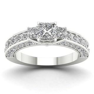 De Couer 14k White Gold 2 3/8ct TDW Diamond Princess-cut Three Stone Ring (H-I, I2)