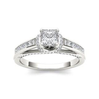 De Couer 14k White Gold 1ct TDW Princess-cut White Diamond Ring (H-I, I2)