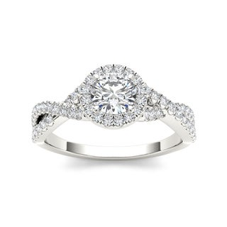 De Couer 14k White Gold 1 1/10ct TDW Diamond Twist Engagement Ring (H-I, I2)