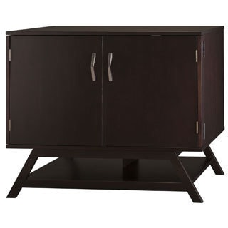 Canted-style Compact 36-inch Storage Cabinet in Macchiata Coffee