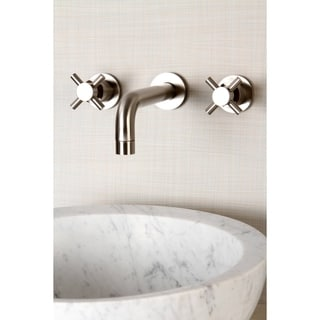 Wall-mount Satin Nickel Vessel Bathroom Faucet