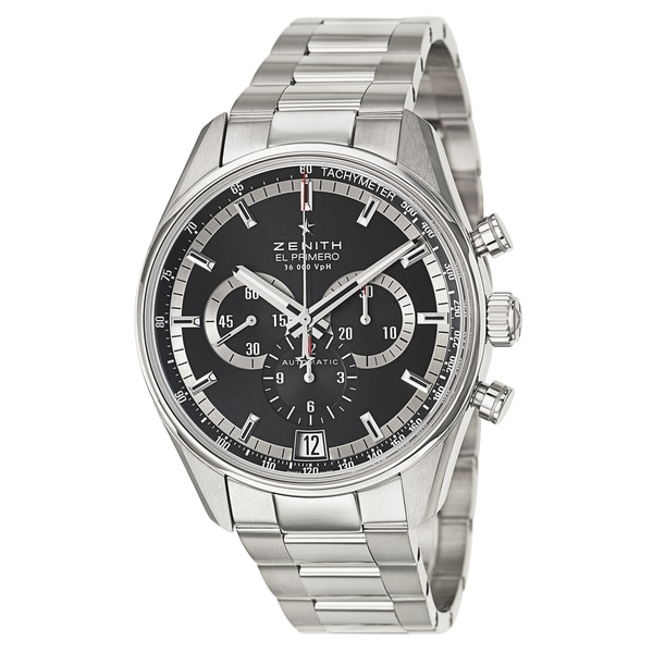 Zenith Men's 'El Primero 36'000 VPH' Stainless Steel Chronograph Tachymeter Watch