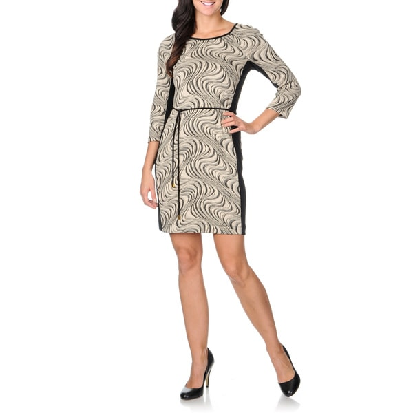 Sandra Darren Women's Abstract Black Self-tie Shift Dress