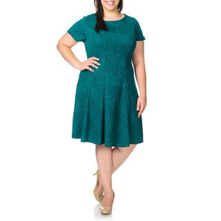 Sandra Darren Women's Plus Size Teal Textured Wave Dress