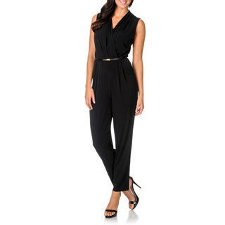 Sandra Darren Women's Black Belted Sleeveless Jumpsuit
