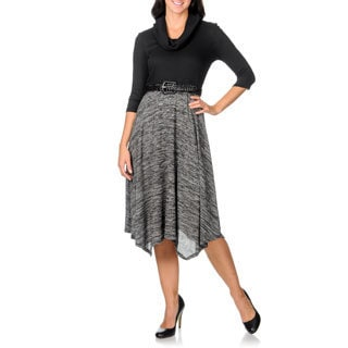 Studio One Women's Black/ Grey A-line Cowl Neck Dress