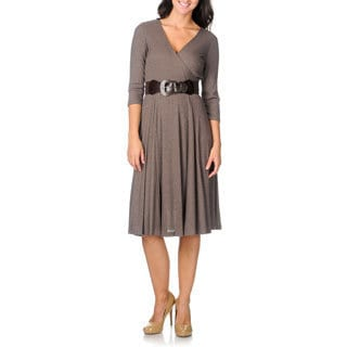 Studio One Women's Heather Brown Surplice Dress