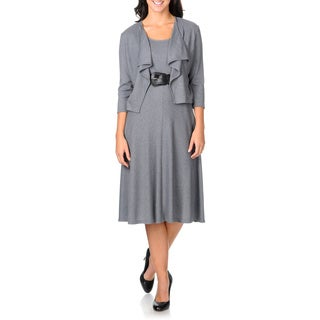 Studio One Women's Heather Grey A-line Jacket Dress