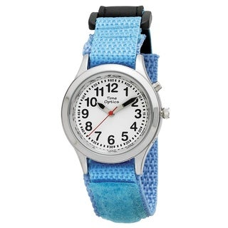 Time Teacher Kids' Talking Light Blue Velcro Strap Watch