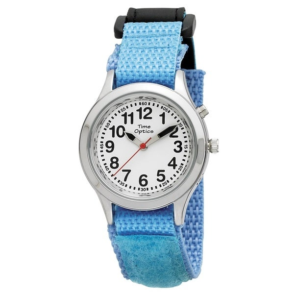 Time Teacher Kids' Talking Light Blue Velcro Strap Watch