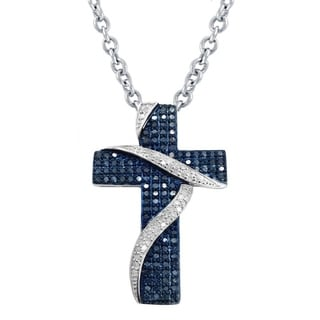 Jewelry By V3 Sterling Silver 3/4ct TDW Blue and White Diamond Cross Pendant Necklace (H-I, I2-I3)