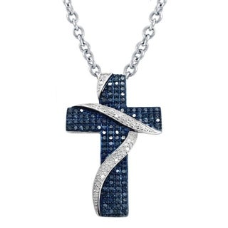 Sterling Silver 3/4ct TDW Blue and White Diamond Cross Necklace (H-I, I2-I3)