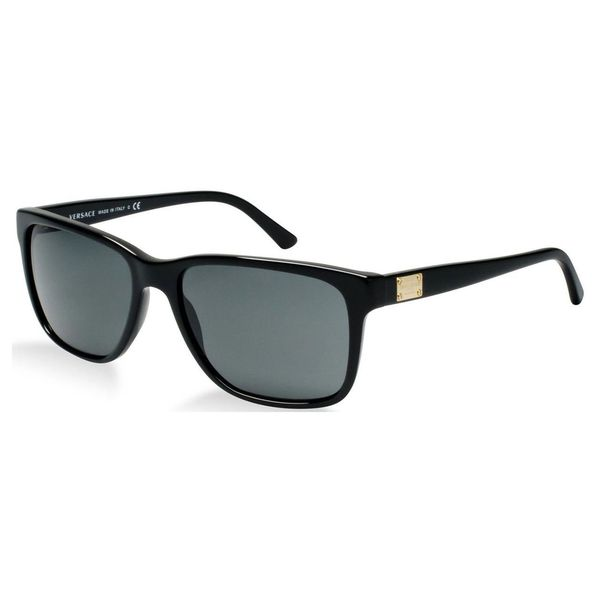 Versace Men's VE 4249 GB1/87 Shiny Black Rectangle Sunglasses