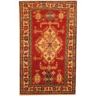 Herat Oriental Afghan Hand-knotted Kazak Red/ Beige Wool Rug (3'1 x 5'1)