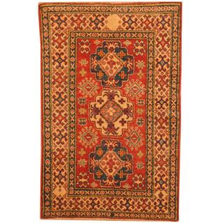 Herat Oriental Afghan Hand-knotted Kazak Red/ Beige Wool Rug (3'2 x 4'11)
