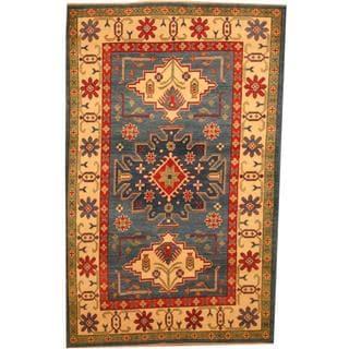 Herat Oriental Afghan Hand-knotted Kazak Blue/ Beige Wool Rug (4' x 6'5)