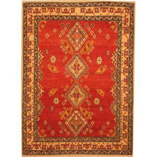 Herat Oriental Afghan Hand-knotted Kazak Red/ Beige Wool Rug (4' x 5'6)