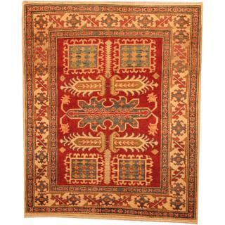 Herat Oriental Afghan Hand-knotted Kazak Red/ Beige Wool Rug (3'9 x 4'7)