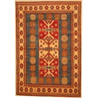 Herat Oriental Afghan Hand-knotted Kazak Blue/ Beige Wool Rug (4'4 x 6'4)