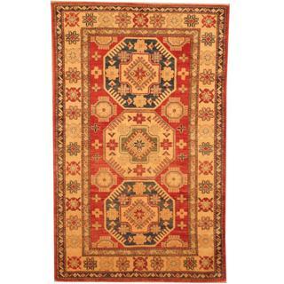 Herat Oriental Afghan Hand-knotted Kazak Red/ Beige Wool Rug (3'6 x 5'7)