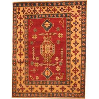 Herat Oriental Afghan Hand-knotted Kazak Red/ Beige Wool Rug (3'10 x 5'1)