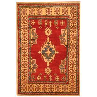 Herat Oriental Afghan Hand-knotted Kazak Red/ Beige Wool Rug (3'6 x 5'3)