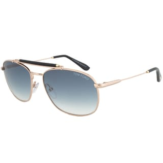 Tom Ford 'Marlon 28W' Rose Gold/ Black Aviator Sunglasses
