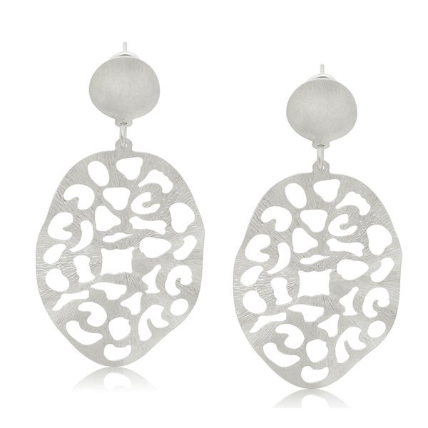 Gioelli Sterling Silver Italian Textured Oval Wavy Dangle Earrings