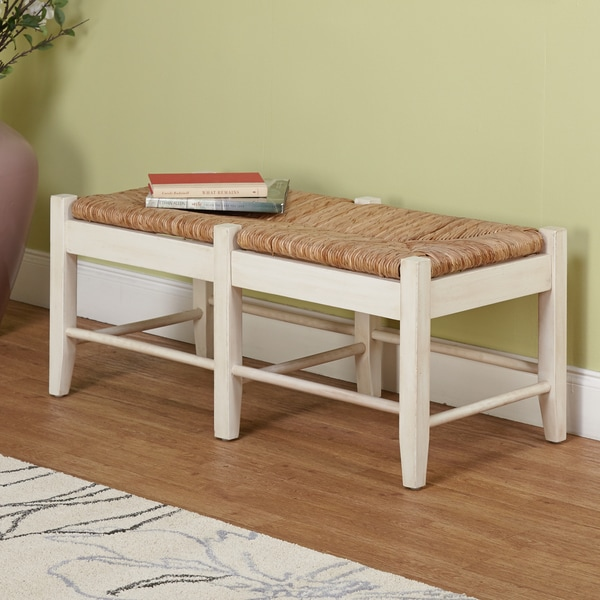 Simple Living Ashby Wood Bench, Antique White