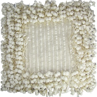 Hand-woven Ivory Poly Nubs 18-inch Feather-filled Throw Pillow