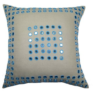 Mirror Frame Turqouise 20-inch Feather Filled Throw Pillow