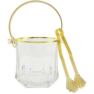 Goldtone Accented Ice Bucket with Handle and Pick