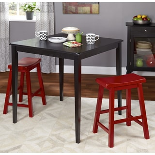 Simple Living 3pc Belfast Saddle Counter Height Set, Black and Red