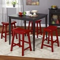 Simple Living 5pc Belfast Saddle Counter Height Set, Black and Red