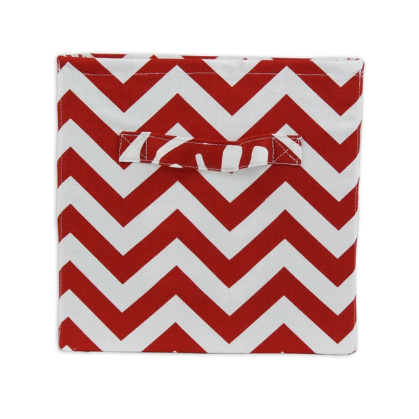 Chevron Red 11 x 10.75 Storage Bin with Handle