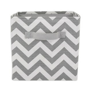 Chevron Grey 11 x 10.75 Storage Bin with Handle