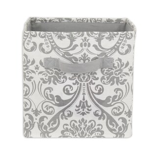 Wedding Grey Twill 11 x 10.75 Storage Bin with Handle
