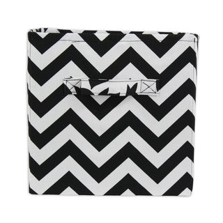Chevron Black 11 x 10.75 Storage Bin with Handle