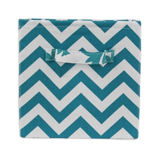 Chevron Blue 11 x 10.75 Storage Bin with Handle
